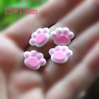 30 Uds pata de oso pequeño, cabujón de resina con parte posterior plana muy bonito, piezas decorativas para el cabello, 15*12mm