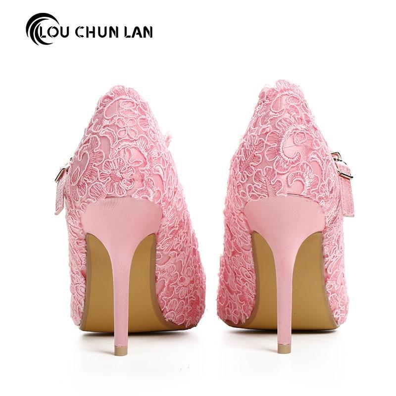 Dulce rosa de encaje de flores zapatos de novia talones ultra altos ...