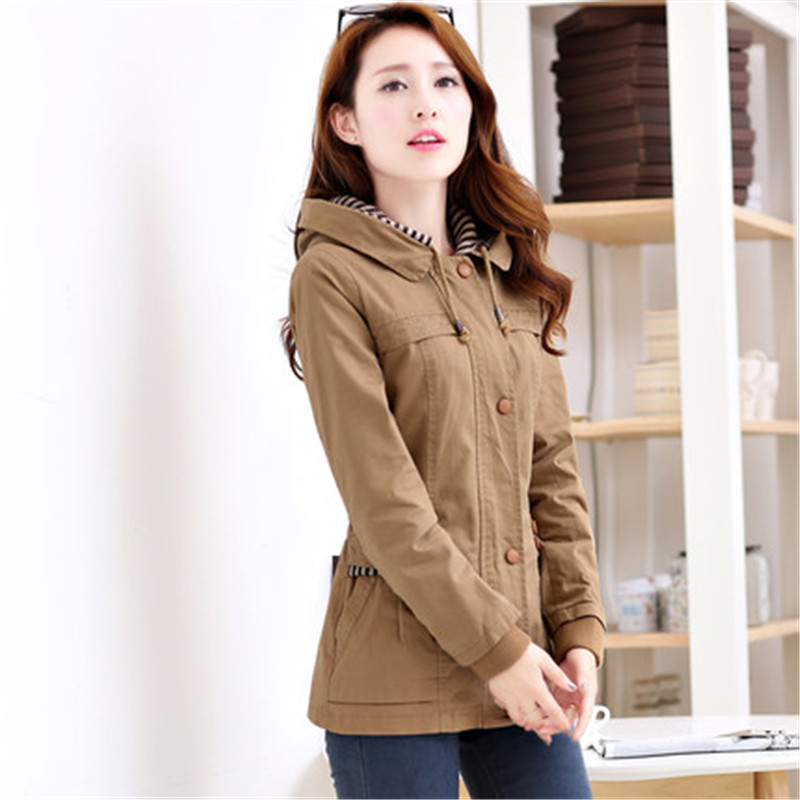 2020 Spring Autumn Women Trench Coats Outerwear Long Sleeve Hooded Windbreaker Slim Big Size Casual Tops Female Basic Coat N639