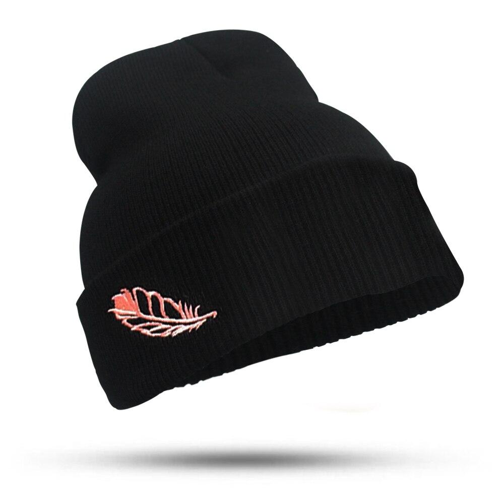 2017 Feather Winter Hat female Unisex knitted Skullies Bonnet Casual Hat For Men Women Black Autumn Beanies Caps skullies