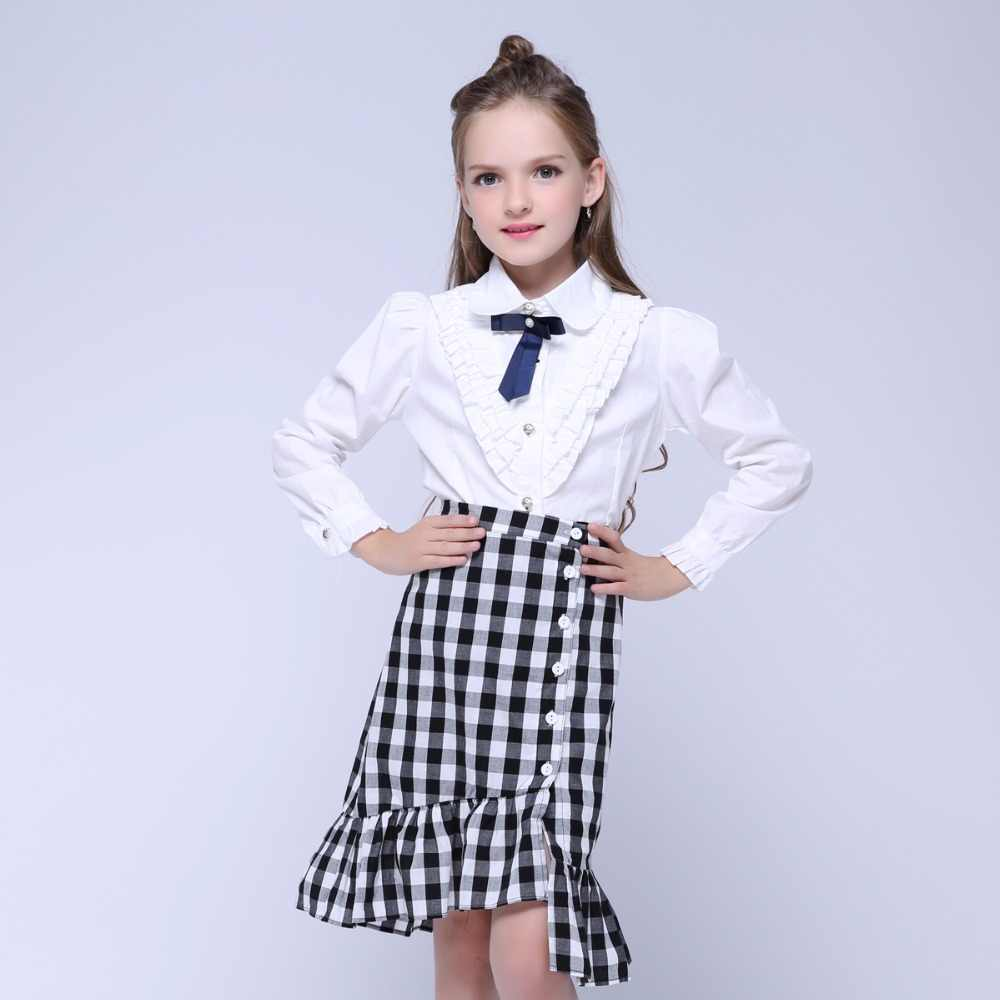 959ba90424ae9 Teenage White Blouses For Girls Formal Clothes Turn-Down Collar Bow Shirts  Girls School Uniforms Preppy Style Girls Blouses