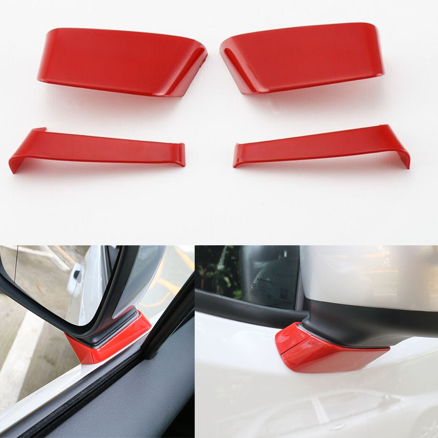 YAQUICKA 4Pcs/Set ABS Exterior Car-Styling Rearview Mirror Bottom Holder Cover Decor Trim Molding For Jeep Renegade 2015 2016