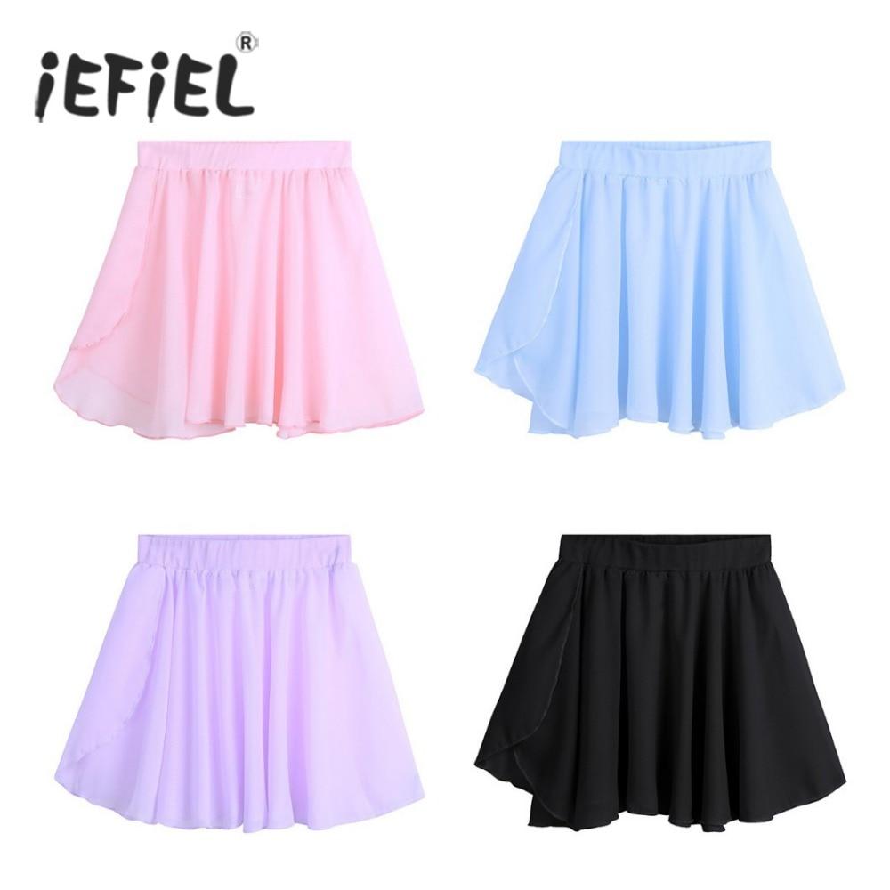 Kids Ballet Dance Skirts Chiffon Mini Pull-On Wrap Skirt Ballerina Dress-up For Performance Costume Party Tutu Skirt For Girls