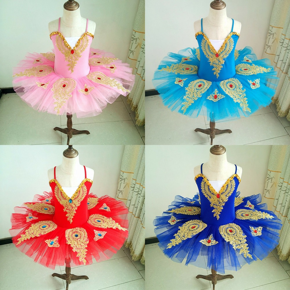 Ruby Diamond Pancake Swan Lake Ballet Bailarina Kids Stage Performance Costume Dance Dress For Girls Ballet Dress Tutu Children