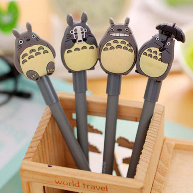 4 pieces/lot Neighbor Totoro Chinchilla Cap Cute Pens 0.38MM Neutral Pen School Supplies Boligrafos Gel Ink Pen Gift Stationery