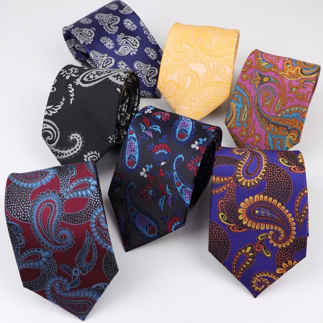 90c1fba63b85 Formal Standard Size Paisley Necktie Groom Gentleman Ties Men Design 3.15 inch Party Polyester Gravata Slim