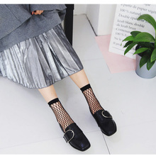 2018 Hot Sale 1 Pair Women's Clothing Fishnet Socks Black White Sexy Look Through Fishnet Hollow Mid Calf Fashion Short Socks sexy white see through fishnet playsuits