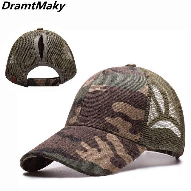 9a9c5ec2715 2019 F Ponytail Camo Baseball Cap Women Snapback Hat Summer Messy Bun Mesh  Hats Casual Adjustable