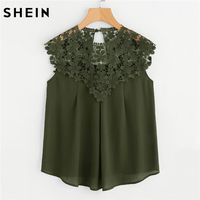 SHEIN Sleeveless Blouse Summer Casual Women Tops Army Green Contrast Lace Keyhole Back Daisy Lace Shoulder