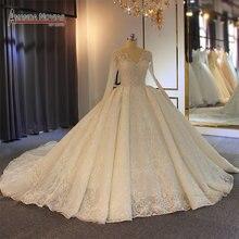 Robe de soiree casamento 2019 beading completo vestido de casamento espumante 100% alta qualidade trabalho real