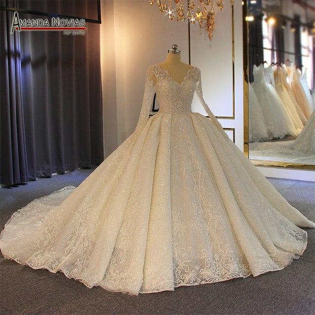 رداء de soiree زفاف 2019 كامل مطرز بالخرز فستان زفاف متألق 100% عمل حقيقي عالي الجودة