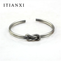 Itianxi Brand Men Knot Cuffs Open Gold Silver Bracelet Simple Two Line Twisted Rope Knot Bracelet