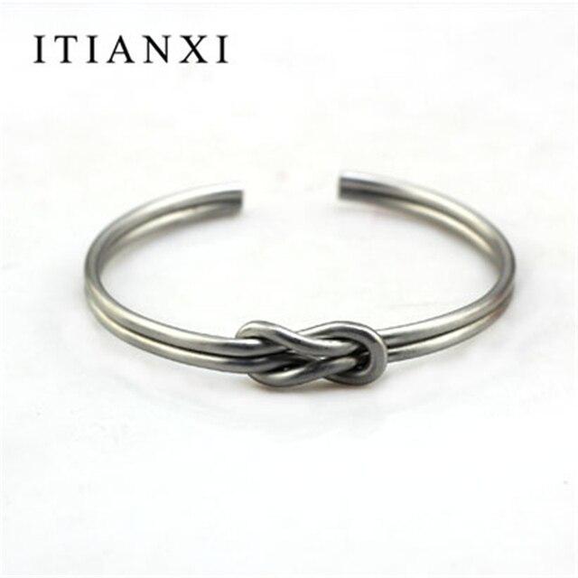 Itianxi Brand Men Knot Cuffs Open Gold Silver Bracelet Simple Two