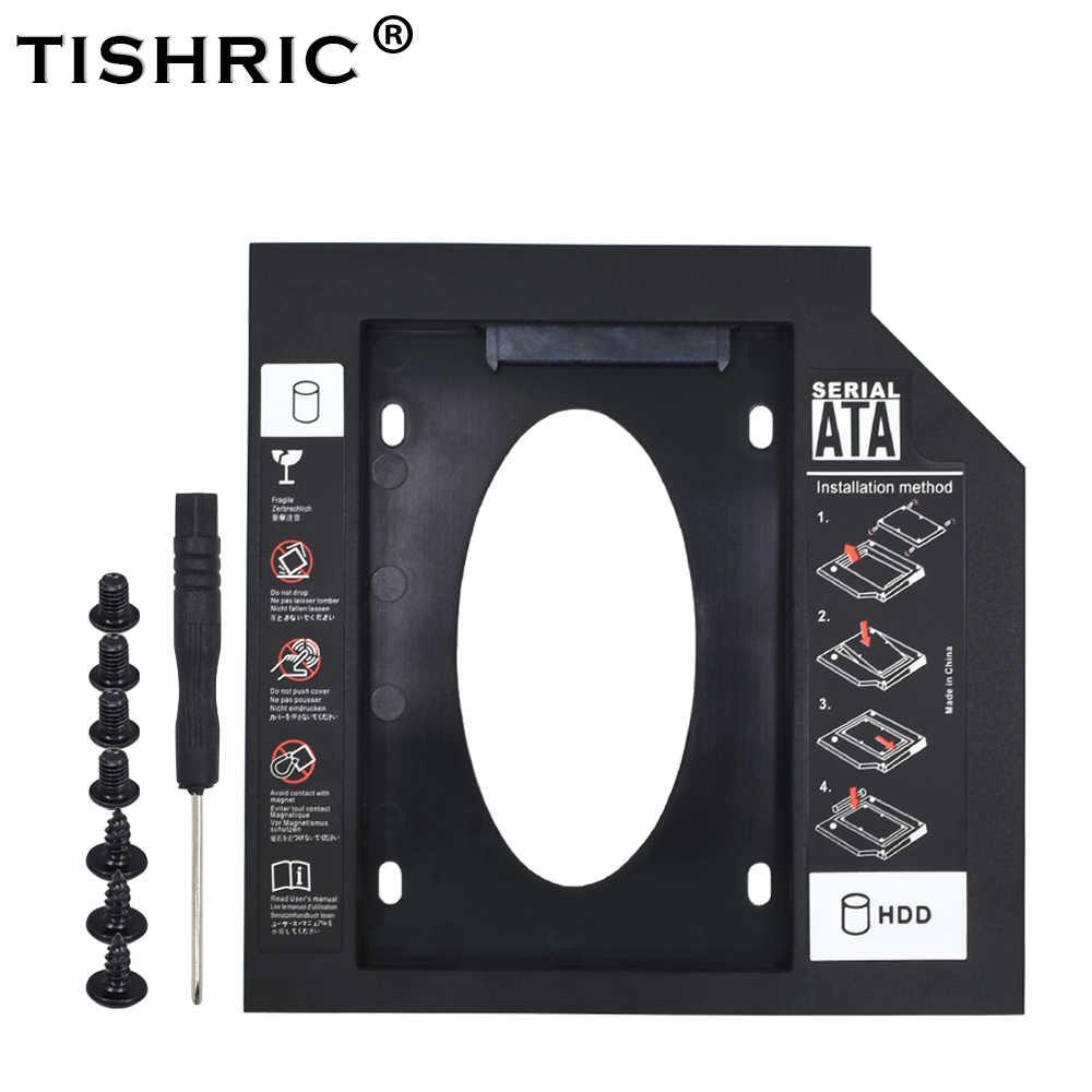 TISHRIC nowe plastikowe HDD Caddy 9.5 12.7mm SATA 3.0 Optibay 2.5 ''SSD DVD sterownik dysku twardego CD-ROM Adapter Case obudowa
