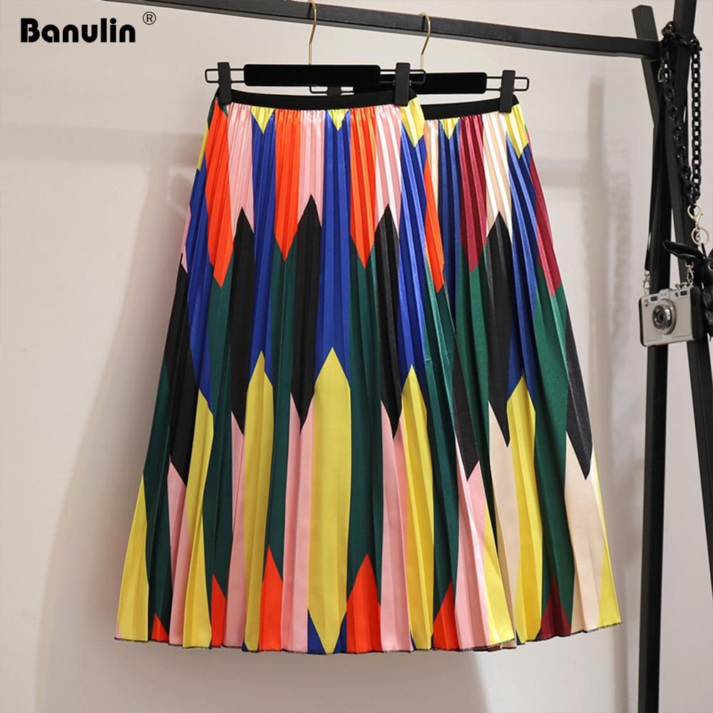 Banulin 2019 Spring Summer Skirts Womens Elastic Waist A Line Midi Skirt Mid Calf Long Skirts Contrast High Waist Pleated Skirt Price $30.46