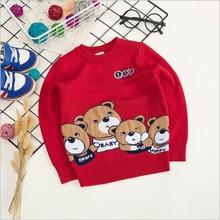 Boys girls bear pattern sweater 2017 winter autumn fashion kids cartoon Knitwear children Pullover baby boy girl clothing tops