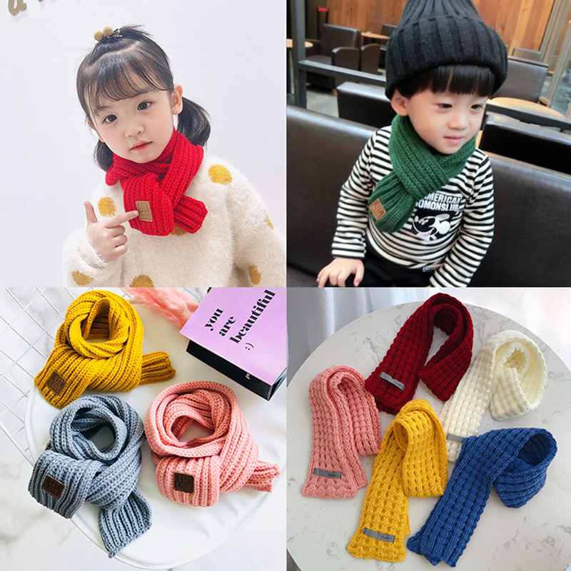 Kids Boys Girls Winter Scarf Knitted Circle Wool Scarf Winter Warm Neck Warmer Scarves Knitting Wool Neck Warmer