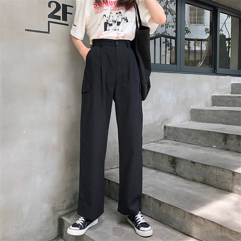 Alien Kitty 2019 New Loose Summer Women Fresh High Street Pants High Waist Solid Casual Simple Straight Full Black Trousers