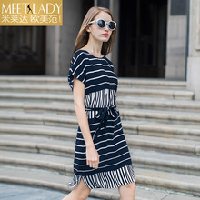 2017 summer dress women's clothing fashion stripe loose casual dress o-neck short-sleeve belt dress slim female