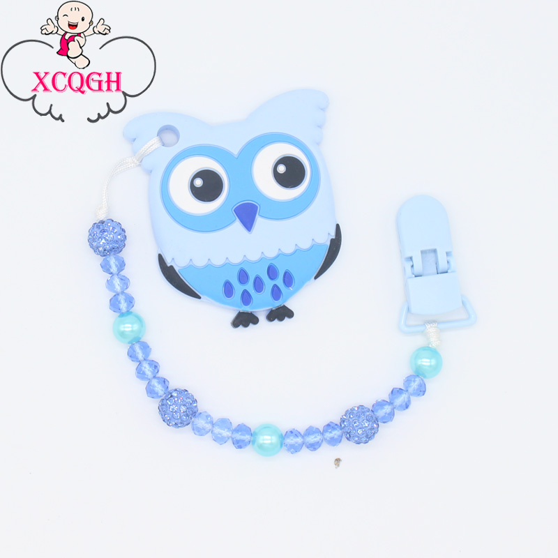 XCQGH Bling Bling Nipple Holder For Infant Toddler Newborn Pacifier Clip Chain Leash Strap Baby Teether Toy Holder Shower Gift