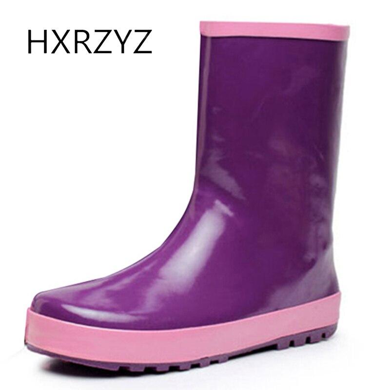 HXRZYZ women rubber font b boots b font spring autumn ankle font b rain b font