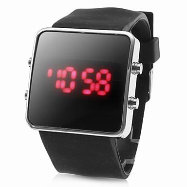 Square Digital Unisex LED rojo caso negro de silicona banda reloj de pulsera
