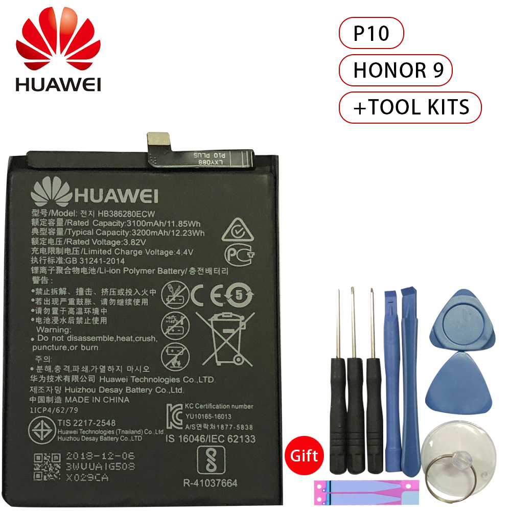 HuaWei Phone Battery HB386280ECW For Huawei honor 9 P10 Ascend Replacement Batteries 3200mAh