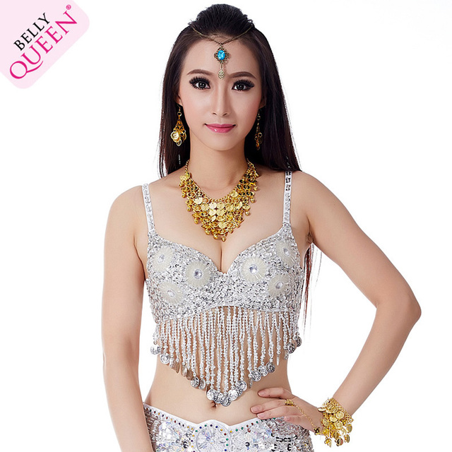 efc4ed1870 Hot Sexy Tribal Top Tassels Sequins Bra Belly Dancing Costume Party Fringes  Size 34 75C