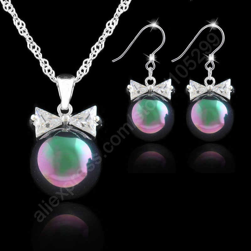 New Arrival Jewelry Sets 12MM Pearl 925 Sterling Silver Color Jewelry Bowknot Cubic Zirconia CZ Pendant Necklaces Earrings Set