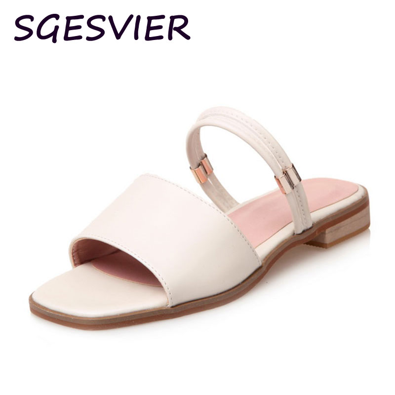 2017 SGEVIER new arrival summer north Europe concise style Women sandals woman solid color low square heel woman sandals sc638