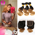 Virgin Malaysian Body Wave With Closure 4 Bundles 3 Tone Ombre Hair With Closure Malaysian Virgin Hair Lace Closure With Bundles