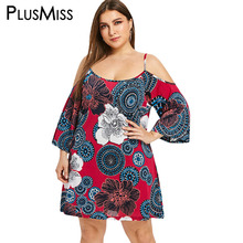 PlusMiss Plus Size XXXXL Loose Ethnic Boho Floral Printed Dress Women Clothing Big Cold Shoulder Dresses Summer XXXL XXL