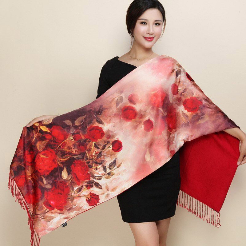 2019 Pastoral Style Women Scarves Pashmina Two Sides Wear Silk Cashmere Scarf National Foulard Femme Warm Print Shawl Scarf