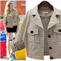 Плюс Размер 4XL Осень Короткая Куртка Женщин 2016 Длинными Рукавами Тонкий Однобортный Пиджак Пальто Дамы Верхней Одежды