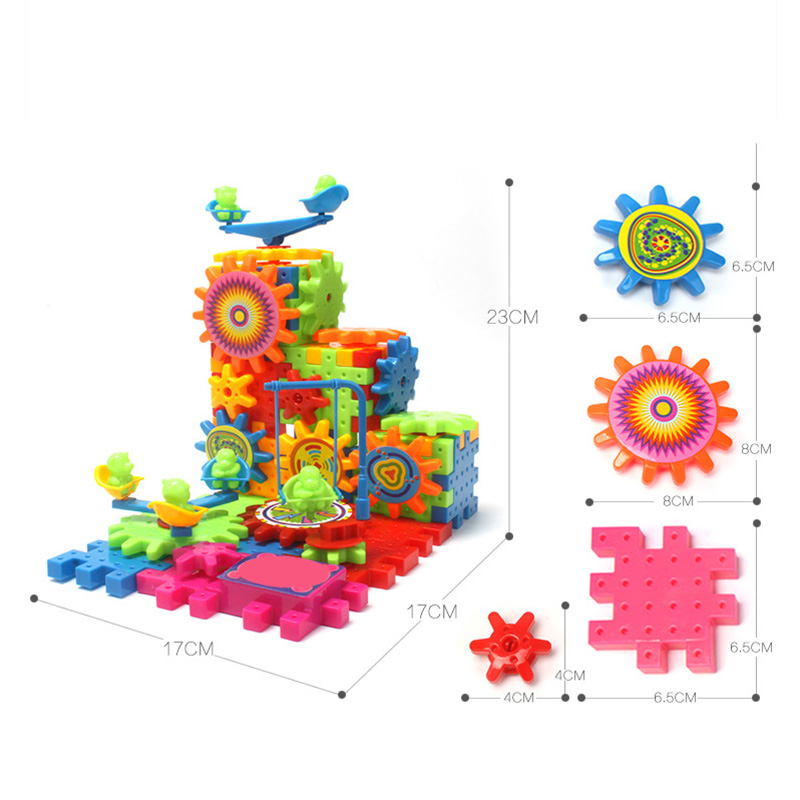 DIY Electric Building Blocks Bricks Gears Educational 3D Kid Funny Toys 81 Pcs