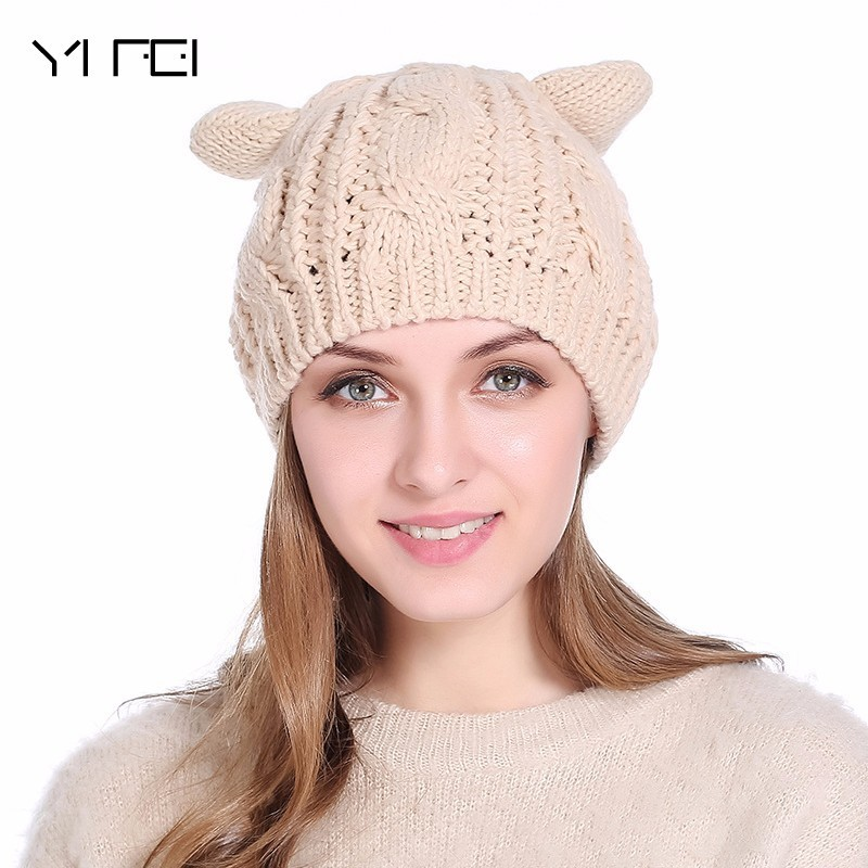 2017 Fashion Hats Women Devil Horns Cat Ear Crochet Braided Knit Ski Beanie Wool Caps Winter Warm Hat For Girl Gorros Bonnet футболка toy machine devil cat black