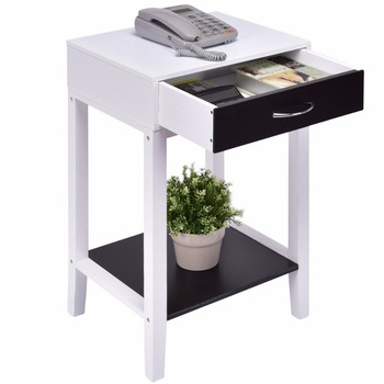 Goplus Side Table for Sofa Bed Living Room Modern Coffee Table White Bedroom Bedside Tables with Drawer Nightstands HW55475 coffee table