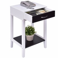Goplus Side Table For Sofa Bed Living Room Modern Coffee Table White Bedroom Bedside Tables With