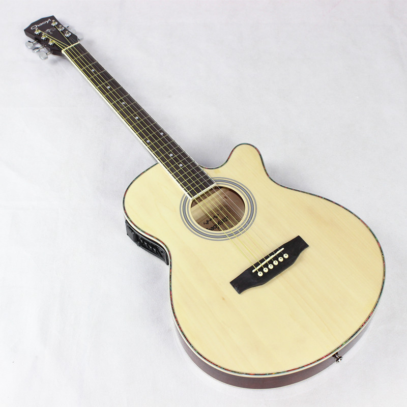 Guitar Acoustic Electric Steel-String Thin Body Flattop Balladry Folk Pop 40 Inch Guitarra 6 String Red Light Cutaway Electro