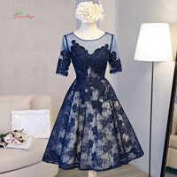Dream Angel Elegant Short Sleeve Tea Length Homecoming Dresses 2017 Sexy Appliques Beaded Short Special Occasion