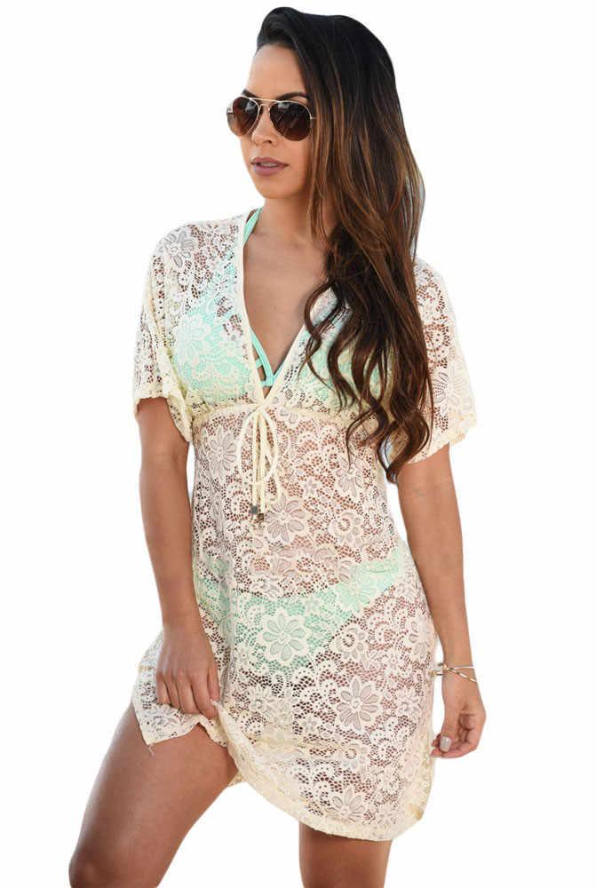 2018 da praia do verão swimwear lace cover up pareo biquíni túnica vestido solto de Malha Branco Swimsuit Cover Up Oco Para Fora do Biquíni pareo