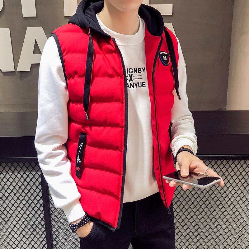 Anbican Fashion Red Winter Vest Men Hooded Windbreaker Down Cotton Slim Vest Coat Men Warm Gilet Casual Sleeveless Jacket