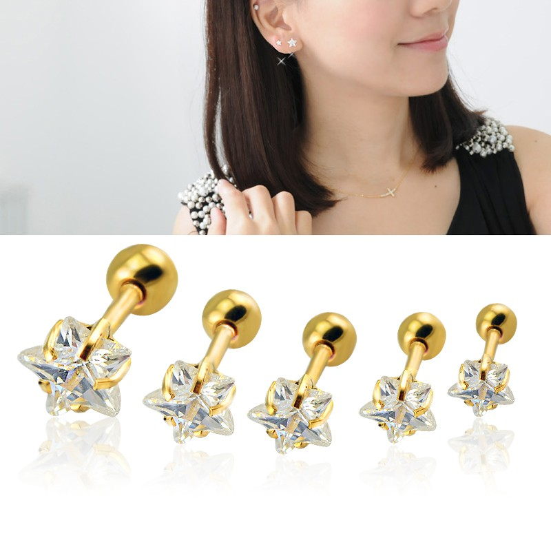 3 ~ 5 mm-es duciócsillag Csillag alakú cirkóniás porc fülbevaló arany ezüst tragus hélix Piercing fülbevaló nőknek
