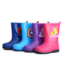 Children's Shoes Wholesale Cartoon Neutral Baby Boys and Girls Spider-men Rain Boots Princess Water Shoes Non-slip Rubber Boots(China)