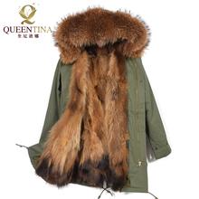 Real Raccoon Fur Jacket 2017 New Brand Winter Warm Coat Thick Real Fur Parkas Women Natural