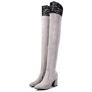 Image 4 - MORAZORA 2019 最新腿高ブーツ女性フロック秋冬ブーツファッションハイヒール靴女性膝上ブーツ
