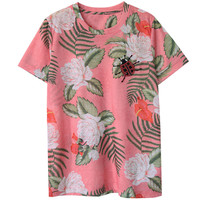 High Quality Women Fashion 2016 Luxury Floral Pink Ladybug Diamond T Shirt Top Female Summer T