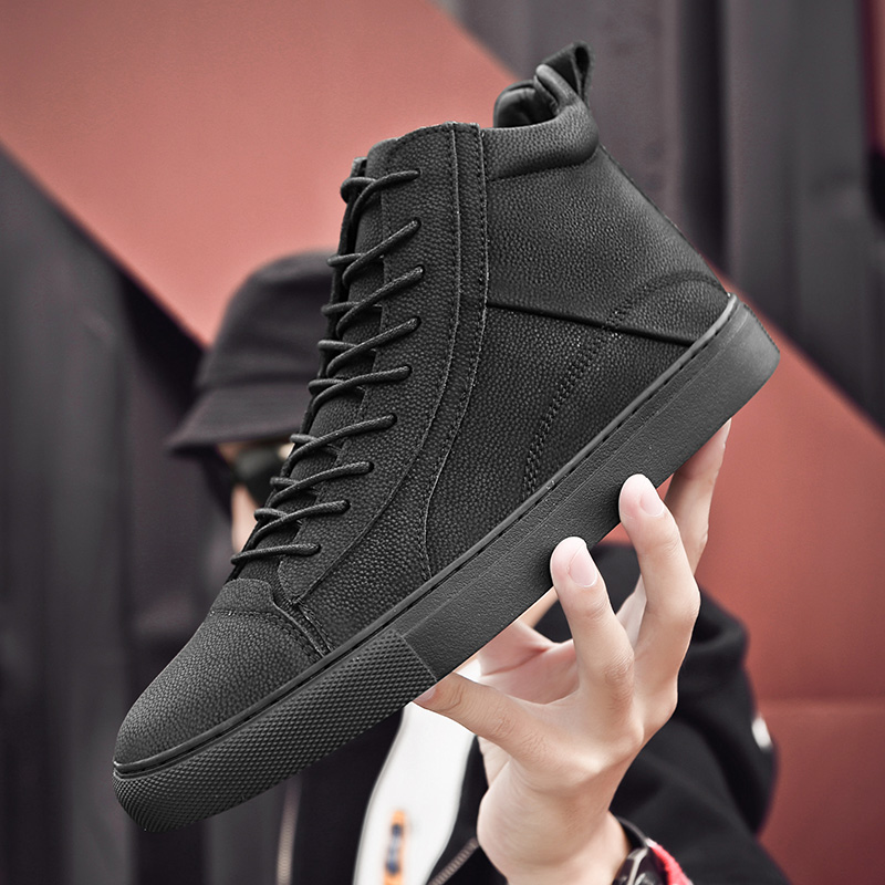 All Black High top Men s Shoes Man Casual Leather Shoes Luxury Brand Trainers Outdoor Waterproof