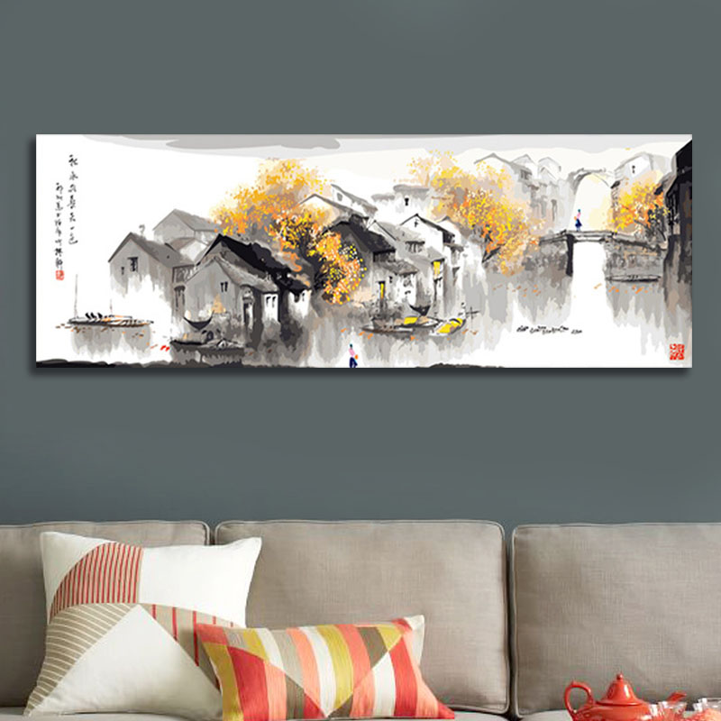 diy digital painting Chinese water city digital paint by numbers home decor for living room modular