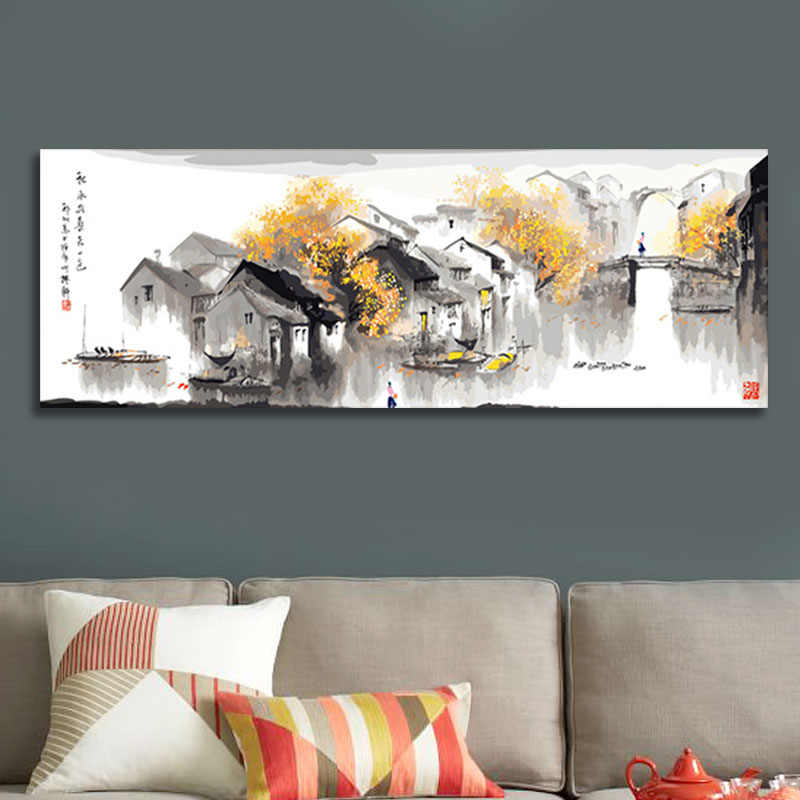 diy digital painting  Chinese water city  digital paint by numbers  home decor for living room  modular painting
